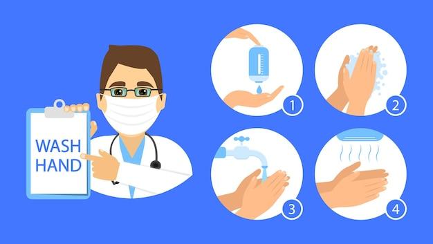 医者はあなたの手を洗う方法を示します。手を洗う手順の説明。フラットスタイル。