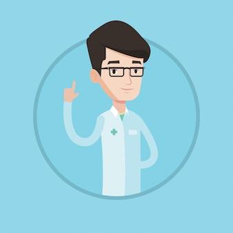 Доктор показывает палец вверх векторные иллюстрации.