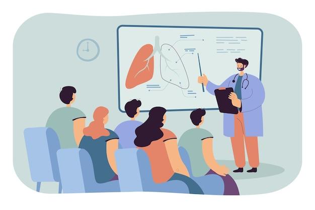 학생 평면 그림에 폐를 보여주는 의사.