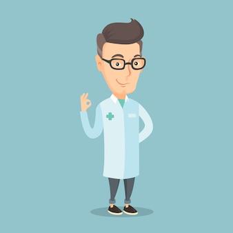 Doctor showing ok sign vector illustration.