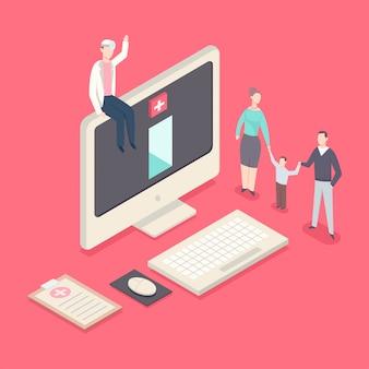医者はコンピューターの上に座って、子供と患者に会います。オンラインかかりつけ医医学概念フラットアイソメ図。