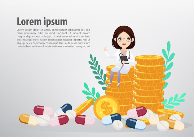 Doctor sitting on coins, business and health care concept. text template