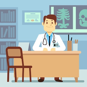 Doctor sitting at the table in medical vector healthcare concept. character professional physician o