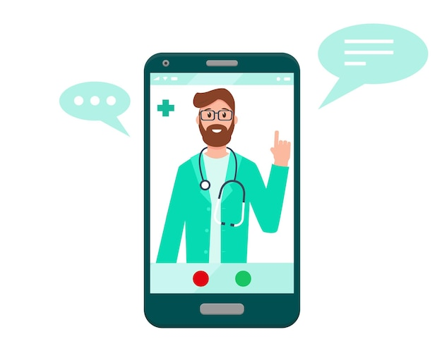 Doctor on the smartphone screen online doctor concept medical consultation support or conference