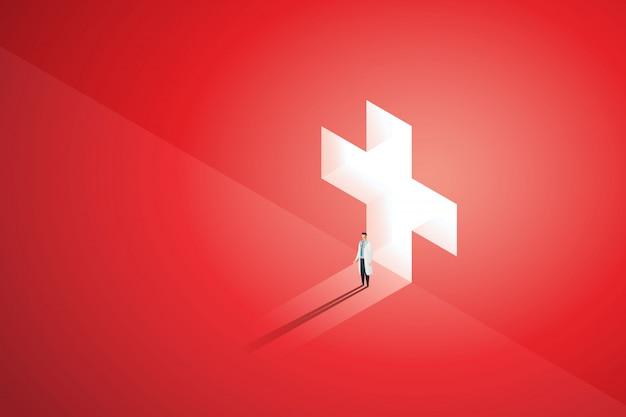 医者は壁に輝く医療の前に立ち、光が落ちると穴の暗赤色。図