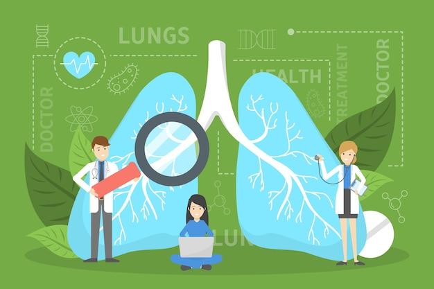 큰 폐에 서있는 의사. 건강에 대한 아이디어