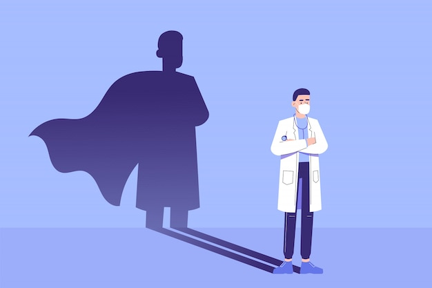 Doctor standing confidently and superhero shadow appears behind on the wall
