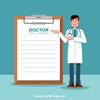 Doctor standing next clipboard
