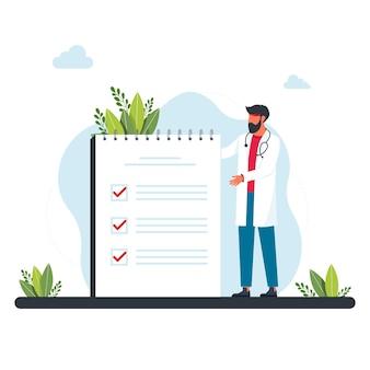 의사는 작업의 큰 시트 근처에 서 있습니다. 남자, 할 일 목록에서 작업의 우선 순위를 지정하는 관리자. 의료 보고서, 웹, 방문 페이지, ui, 배너에 대한 평면 벡터 일러스트를 확인하는 작은 의사의 개념