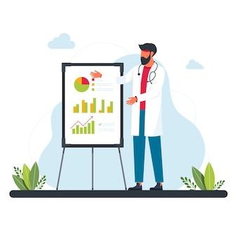의사는 그래픽, 다이어그램, 통계 근처에 있습니다. 의료 개념입니다. 분석 및 그래프 차트가 있는 화이트보드 근처에 흰색 정장을 입은 서 있는 남자의 자세한 그림. 바이러스, 감염, 전염병