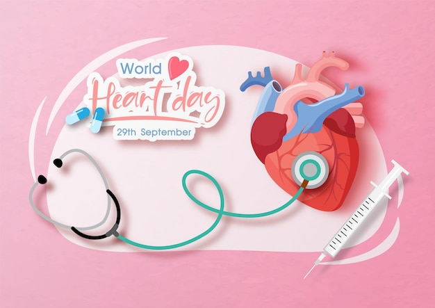 Doctor stethoscope with a human heart and the day and name of event banner on abstract shape and pink paper pattern background. poster campaign of world heart day in paper cut style and vector design.