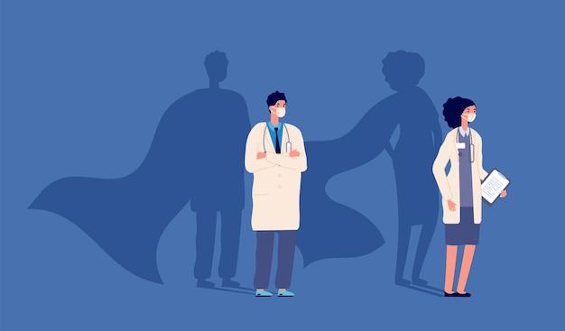 닥터 슈퍼 히어로. 의료 강도 영웅, 사람들은 보호 마스크를 착용합니다. 약력, 여자 남자와 망토 벡터에 강한 그림자. 그림 슈퍼 히어로 의사, 청진기를 가진 의료 영웅