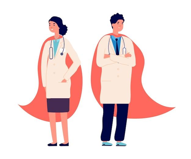 닥터 슈퍼 히어로. 의료팀, 의사들은 빨간 슈퍼 히어로 망토를 입는다. 병원 직원, 간호사 응급 직원. 바이러스 전염병, 의료 벡터 일러스트 레이 션의 의학 보호 생활. 슈퍼히어로 전염병