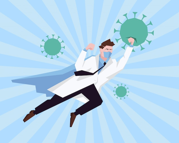 病院で働き、コロナウイルスと戦うスーパーヒーローの医者。 healtcareコンセプトコロナウイルスの大流行の阻止。