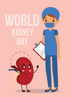 Doctor surgeon cartoon kidney world campaign