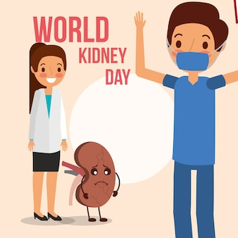 Doctor surgeon and female with cartoon kidney