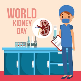 Doctor surgeon in room medical world kidney day