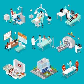 Doctor and symbol of medicine design element set isometric view clinic building. vector illustration