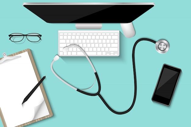 Настольный компьютер таблицы доктора с личным оборудованием., концепция здравоохранения и занятия, иллюстрация.