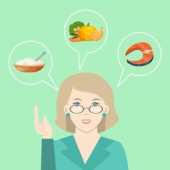 医師は健康食品について話します。栄養士がダイエットと健康的な食事を処方します。新鮮な野菜料理を提供する栄養士