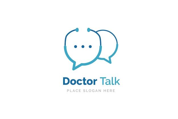 Доктор говорить шаблон дизайна логотипа. стетоскоп, изолированные на символ чата пузырь.