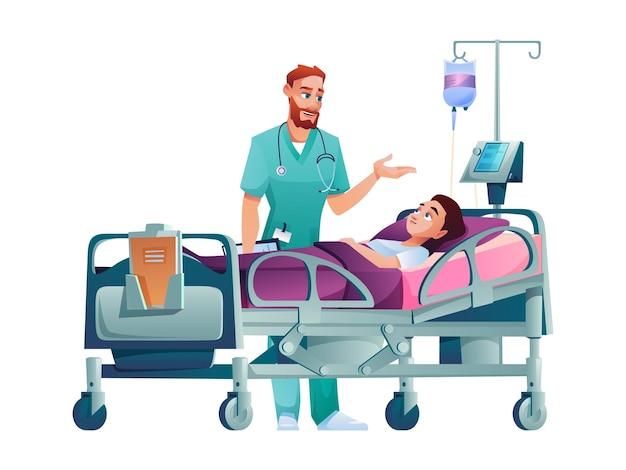 Врач говорит о лечении пациента на больничной койке, изолированного практикующего и больного человека