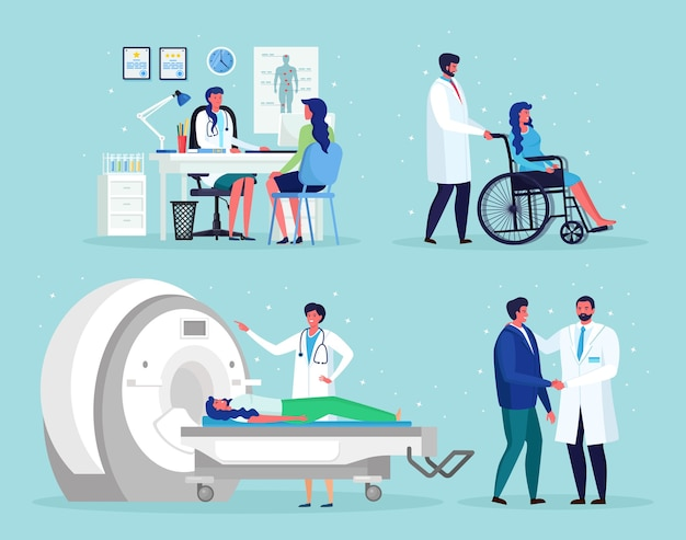 Doctor talks with man. magnetic resonance imaging technology tomography, radiology, xray machine for examination for oncology disease mri. nurse, wheelchair for disabled senior patient