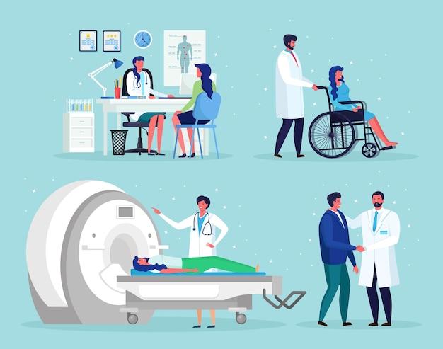 의사는 남자와 이야기합니다. 자기 공명 영상 기술 종양학 질병 mri 검사를위한 단층 촬영, 방사선학, xray 기계. 간호사 ・ 장애인 용 휠체어