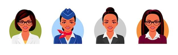 의사, 교사, 스튜어디스, 사업가 아바타 얼굴. 전문 의류를 입고 웃는 여성. 삽화