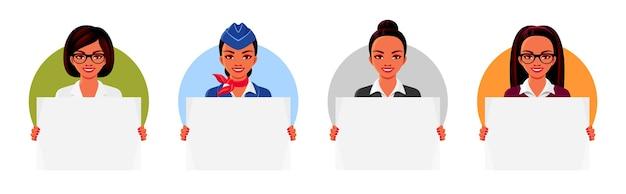 의사, 교사, 스튜어디스, 사업가 빈 포스터를 들고. 전문 의류를 입고 웃는 여성.