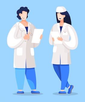 ドキュメントに対処するためにインターンを教える医師