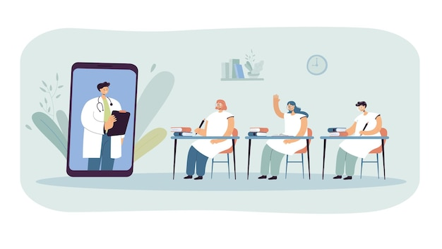 Doctor teaching students through huge phone. characters at online lecture in classroom flat vector illustration