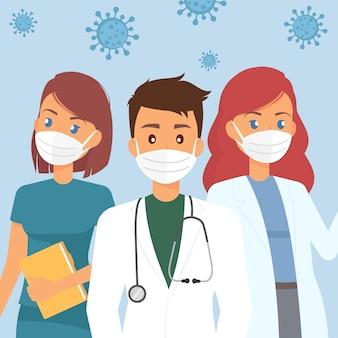 医療用防護マスクを持つ医師チーム