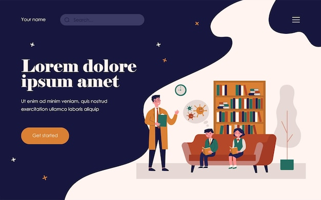 Doctor telling schoolchildren about coronavirus. library, reading book, school flat vector illustration. covid awareness, healthcare concept for banner, website design or landing web page