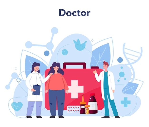 医師。セラピストは患者を診察します。一般的な健康の専門家。