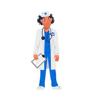 医師。顔に無精ひげを持った医療ガウンの疲れた医者。