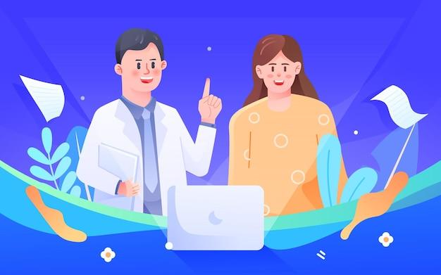 Doctor treating disease medical health insurance plan customized vector illustration
