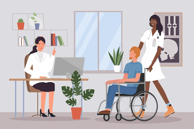 Doctor treatment medical recommendation for people patients with disability in hospital