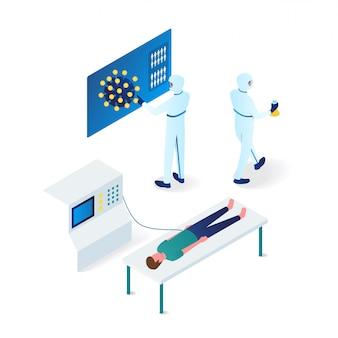 男の等角投影図からコロナウイルスを識別しようとする医師