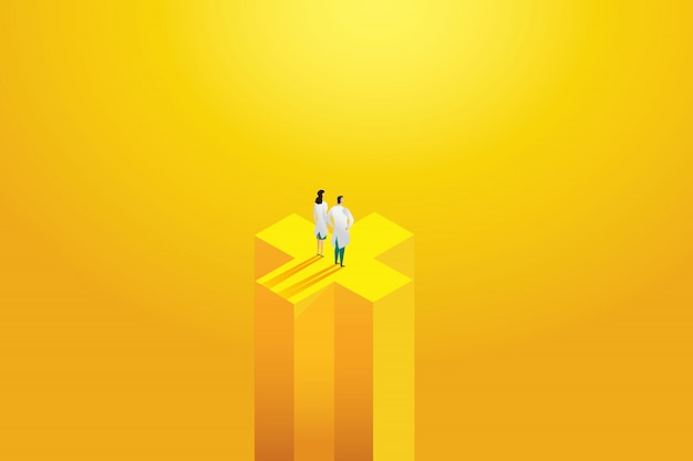 Doctor two professional, workers standing on a yellow background. hospital staff, character set.  illustration