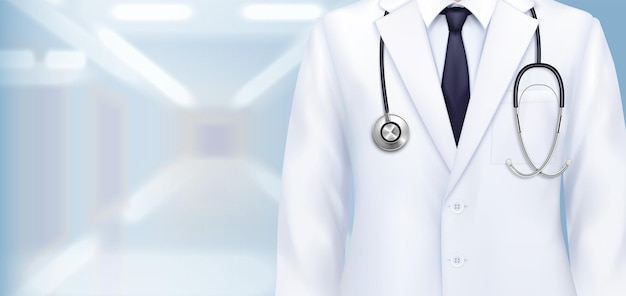 Doctor uniform composition with realistic closeup view of doctors white gown with stethoscope and tie illustration