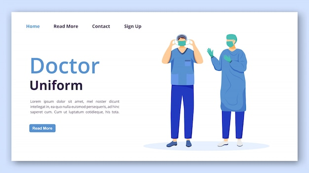 Doctor uniform landing page  template.