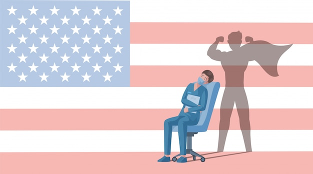 Doctor in uniform with superhero shadow rest after work   cartoon illustration on usa flag background.