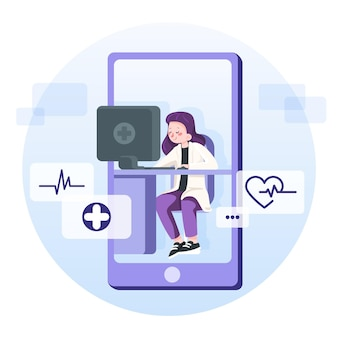 Doctor using online app to help the patients