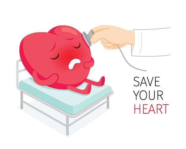 병원에서 침대에서 아픈 심장 만화 캐릭터를 확인하는 청진기를 사용하는 의사