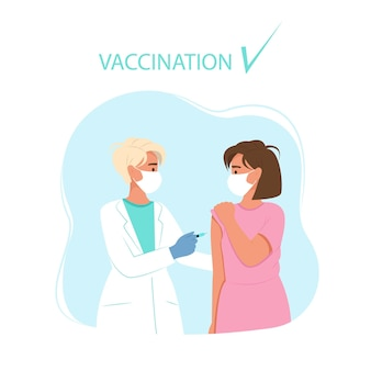 Врач вакцинирует женщину. вакцинация от коронавируса. векторная иллюстрация в плоском стиле.
