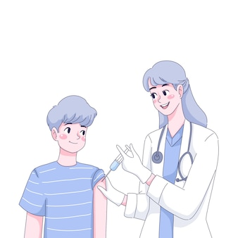 Доктор вакцинирует мальчика иллюстрации шаржа