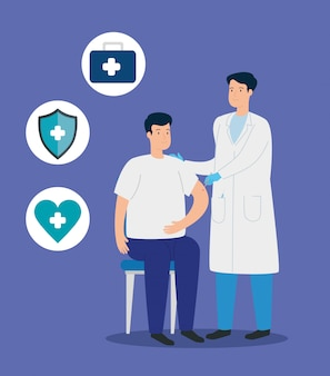 Doctor vaccinating to man and medical icons illustration