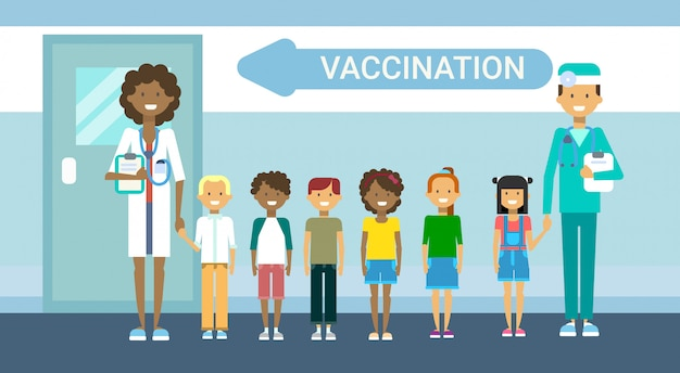Doctor vaccination of children illness prevention immunization medical health care hospital service medicine banner Premium Vector