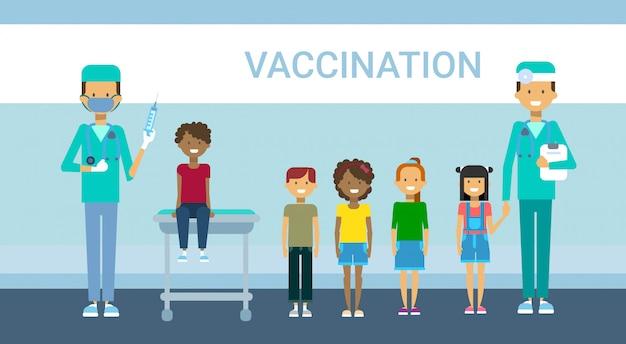 Doctor vaccination of children illness prevention immunization medical health care hospital service medicine banner